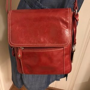 Gianni Bini Red Genuine Leather Crossbody Purse